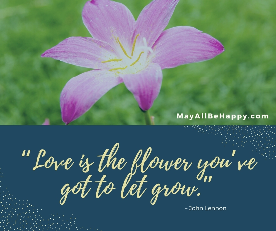 flower with love quote